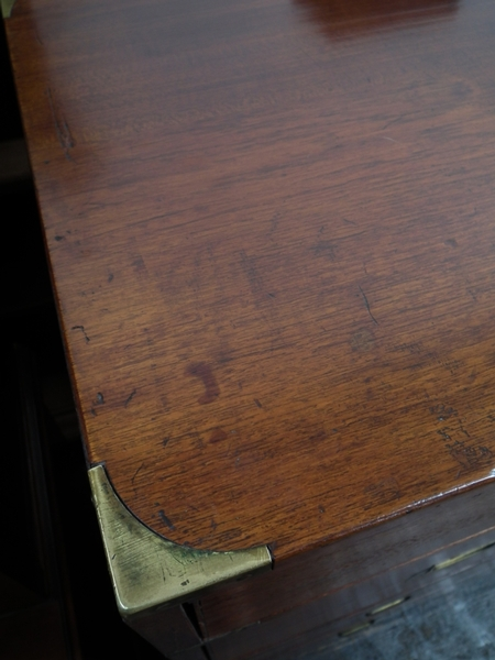 Antique Two Part Teak and Brass Bound Campaign/Military Chest