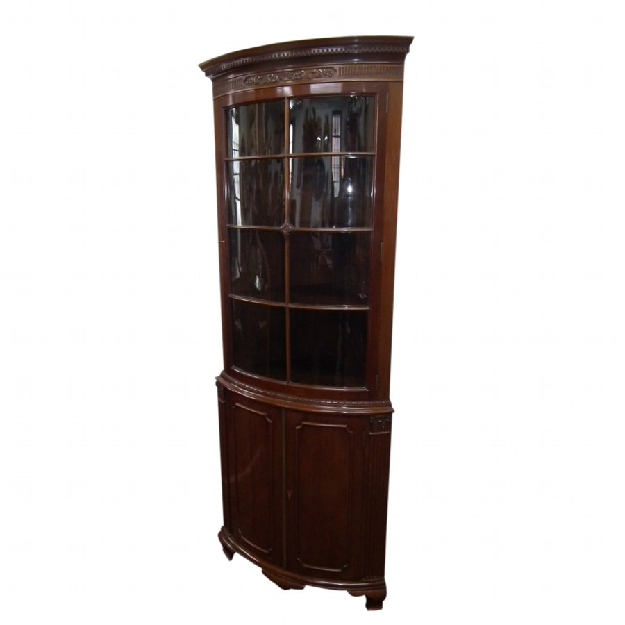 George III Style Mahogany Bow Front Corner Cabinet
