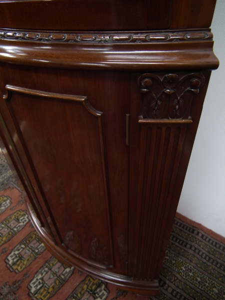 Antique George III Style Mahogany Bow Front Corner Cabinet