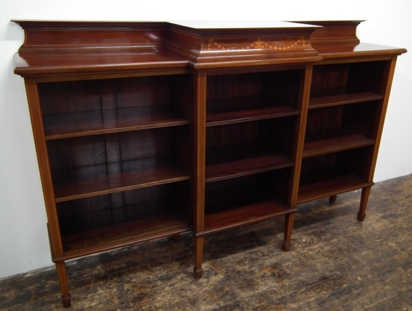 Sheraton Revival Breakfront Open Bookcase
