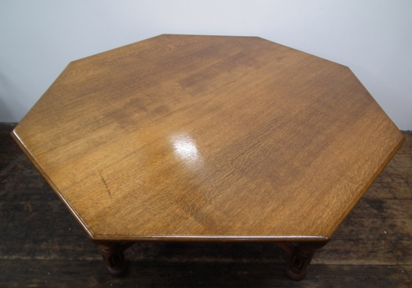 Antique Octagonal Solid Oak Dining Table