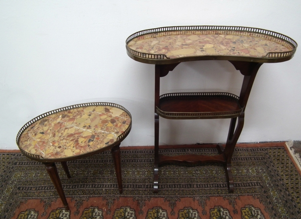 Pair of French Marble Top Side Tables