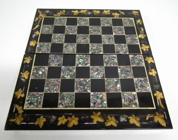 Antique Victorian Mother of Pearl Inlaid Games Board