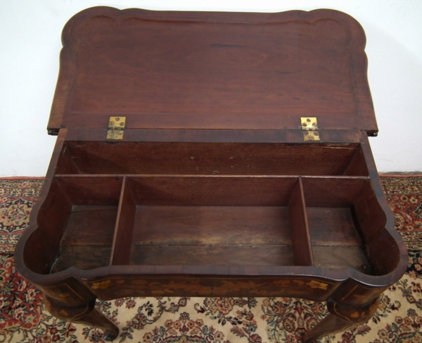 Antique Dutch Marquetry Fold Over Card Table