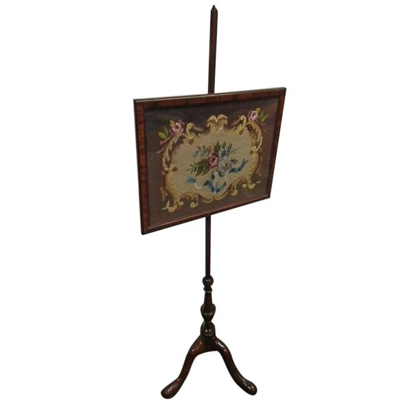 George III Style Tapestry Fire Screen