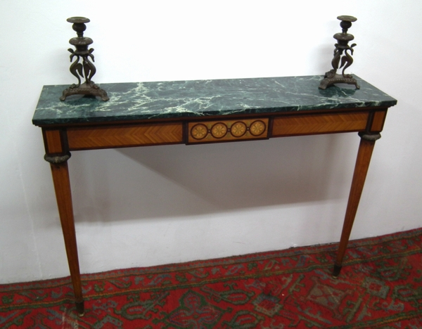 Antique Rare Pair of Marble Top Hall Tables
