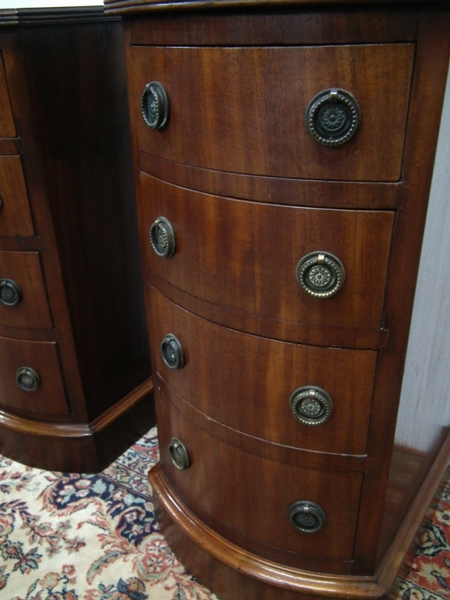 Antique Pair of Victorian Bowfront Mahogany Chests/Lockers