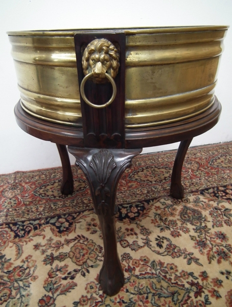Antique Late Victorian Mahogany and Brass Jardinière