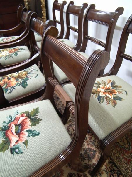 Antique Set of 8 Regency Style Mahogany Dining Chairs
