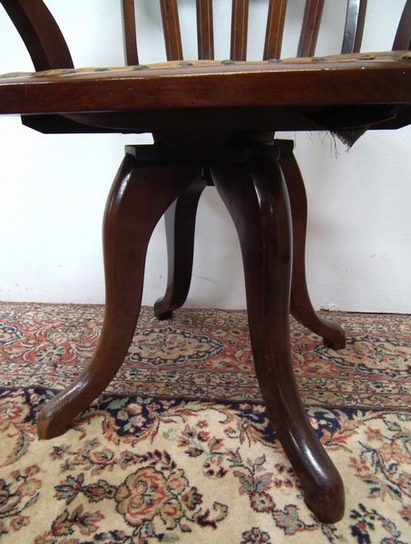 Antique Victorian Inlaid Swivel Desk Chair