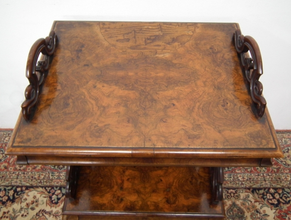 Antique Unusual Victorian Walnut Canterbury/Writing Table