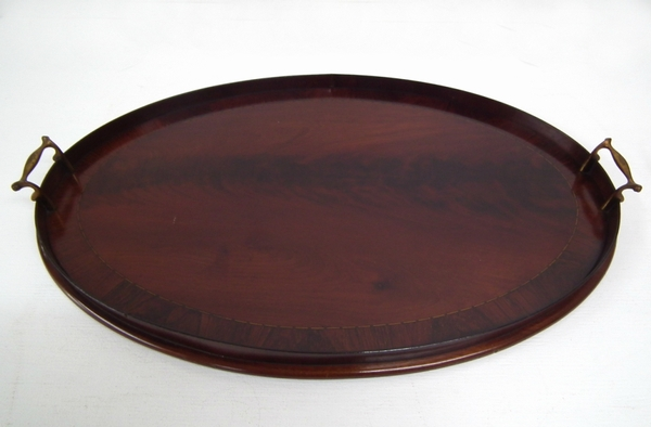 Antique Sheraton Style Mahogany Oval Tray
