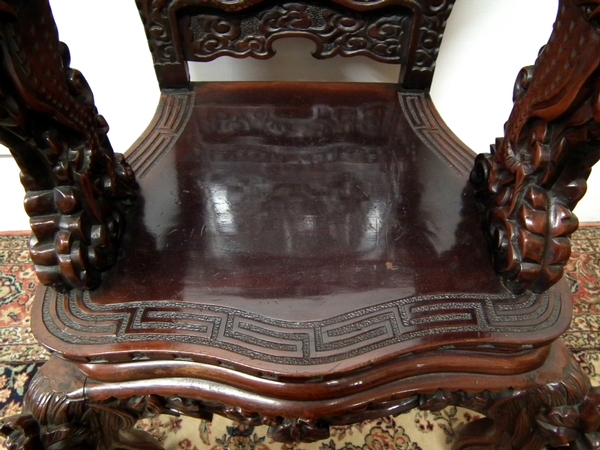 Antique Chinese Carved Open Armchair