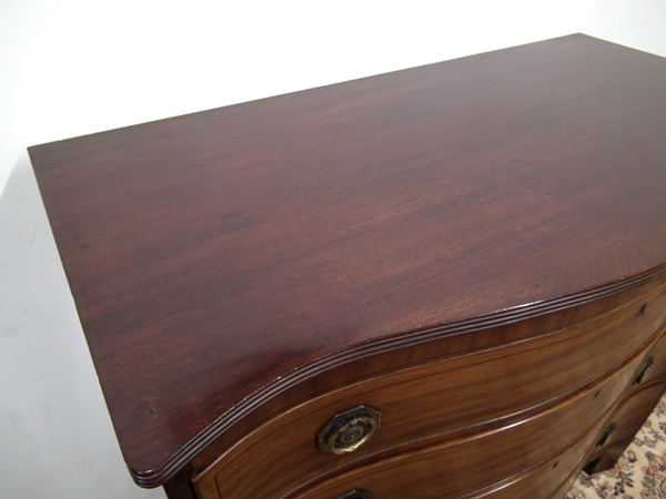 Antique George III Serpentine Mahogany Chest of Drawers