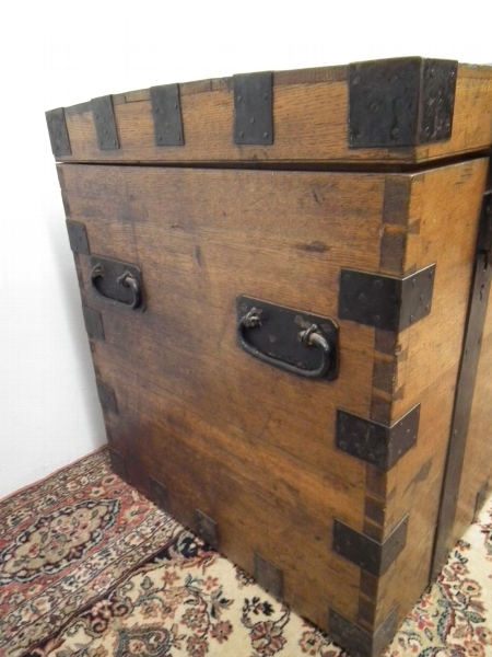 Antique Mid Victorian Oak Silver Trunk
