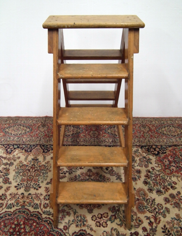 Antique Pine Library Stepladder