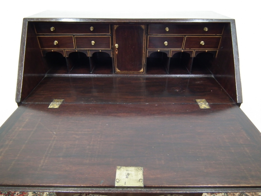Antique Georgian Style Inlaid Mahogany Bureau