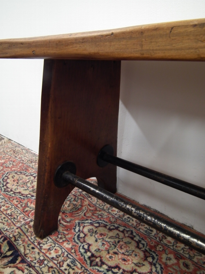 Antique Unusual Pitch Pine Long Bench