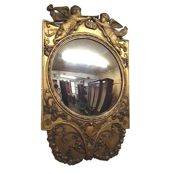 George III Convex and Carved Wall Mirror