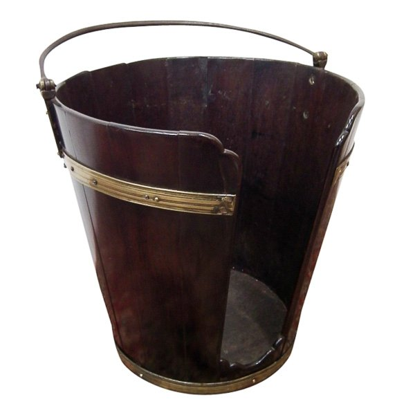 George III Mahogany, Brass and Steel Plate Bucket