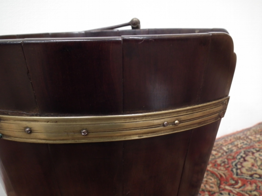 Antique George III Mahogany, Brass and Steel Plate Bucket
