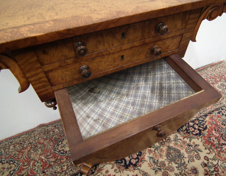 Antique Early Victorian Burr Elm Workbox