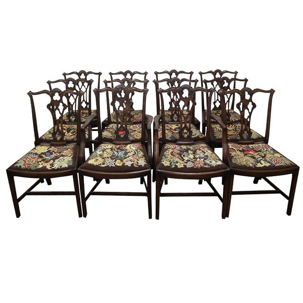 Set of 12 Chippendale Style Mahogany Chairs