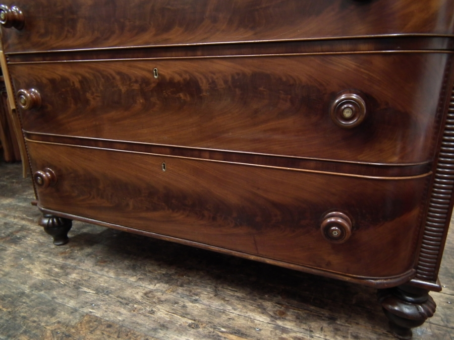 Antique Scottish William IV Bow Front Chest of Drawers