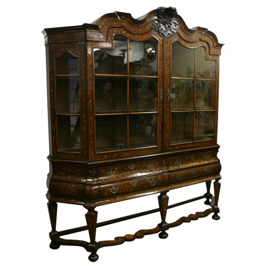 Large Dutch Marquetry Display Cabinet