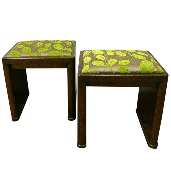 Rare Pair of Art Deco Stools/Window Seats