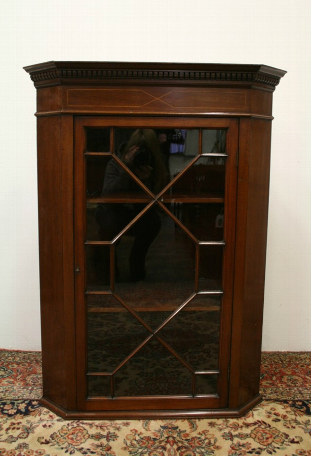 Antique George III Style Mahogany Inlaid Corner Cabinet