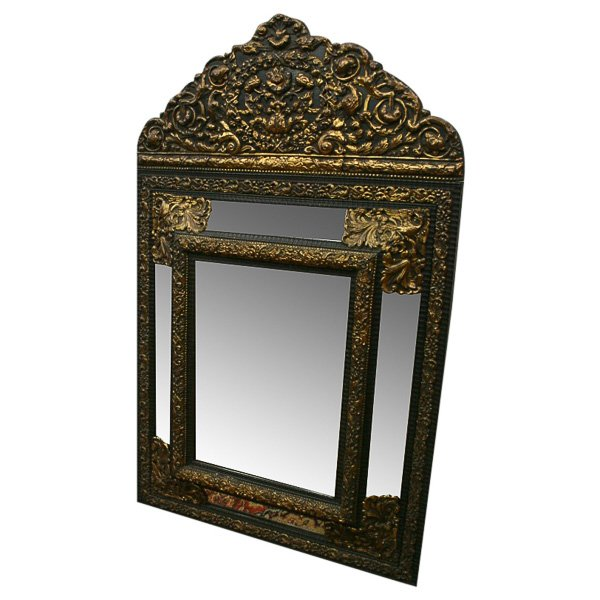 Dutch Embossed Brass and Ebony Mirror