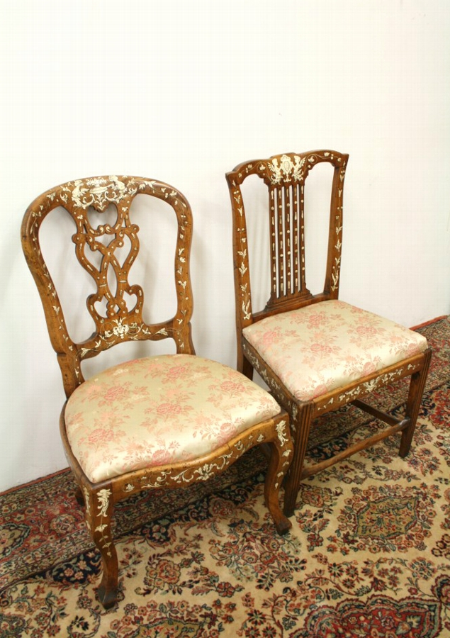 Two Ivory Inlaid Italian Chairs