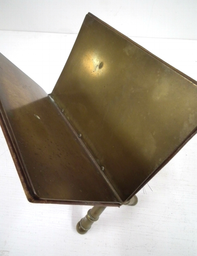 Antique Leather and Brass Letter Stand