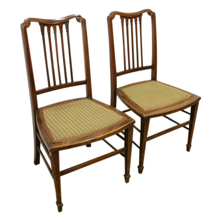 Pair of Edwardian Sheraton Style Hand Chairs