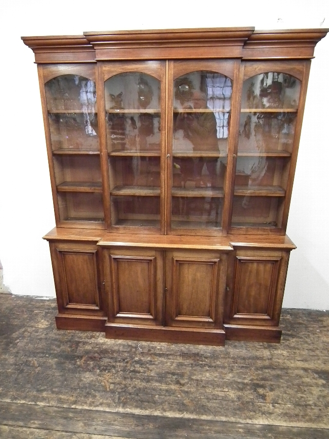 Early Victorian Mahogany Breakfront Bookcase