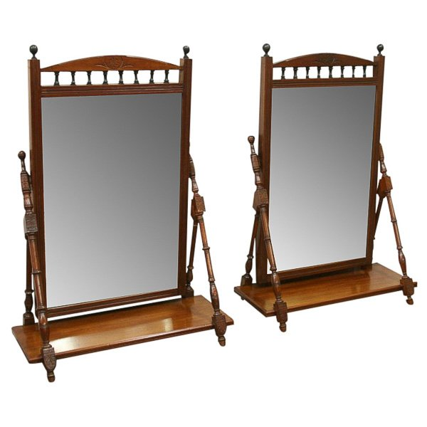 Pair of Late Victorian Mahogany Dressing Mirrors