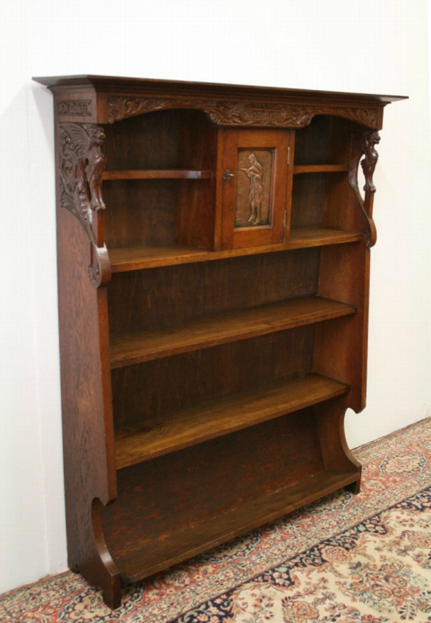 Antique Arts & Crafts Carved Oak Open Bookcase