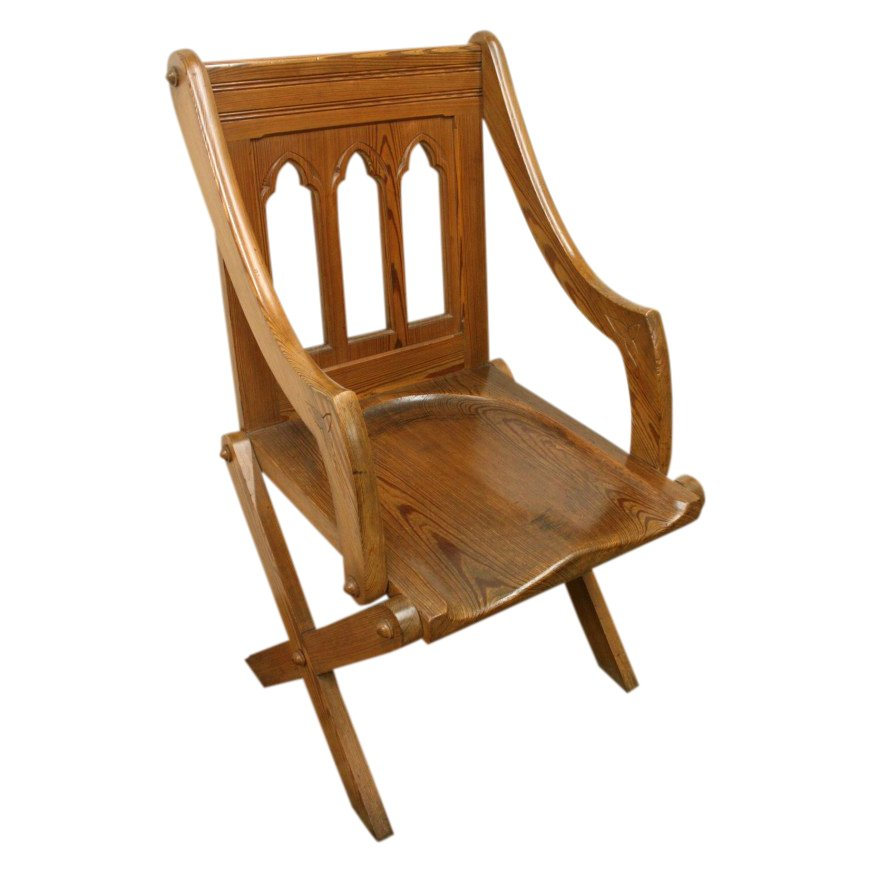 Gothic Style Pitch Pine Chair