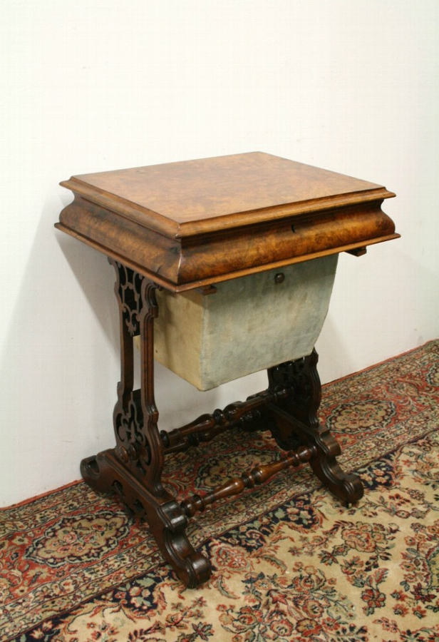 Mid Victorian Burr Walnut Workbox