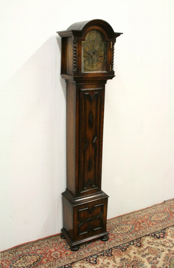 Jacobean Style Oak Grandmother Clock