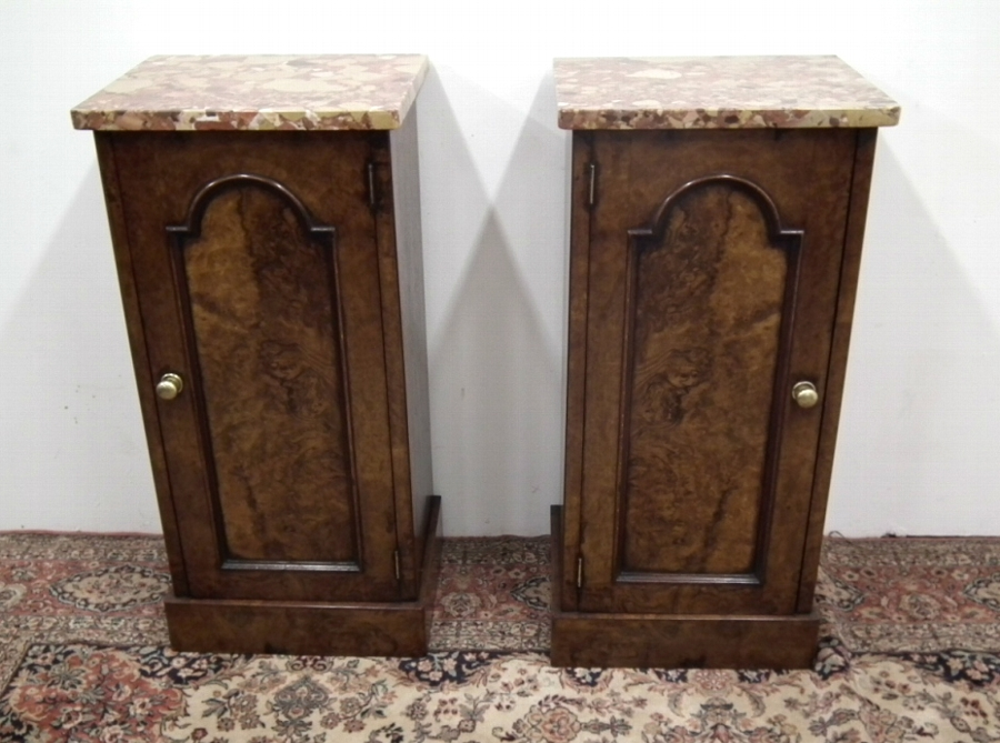 Pair of Victorian Burr Walnut Cabinets