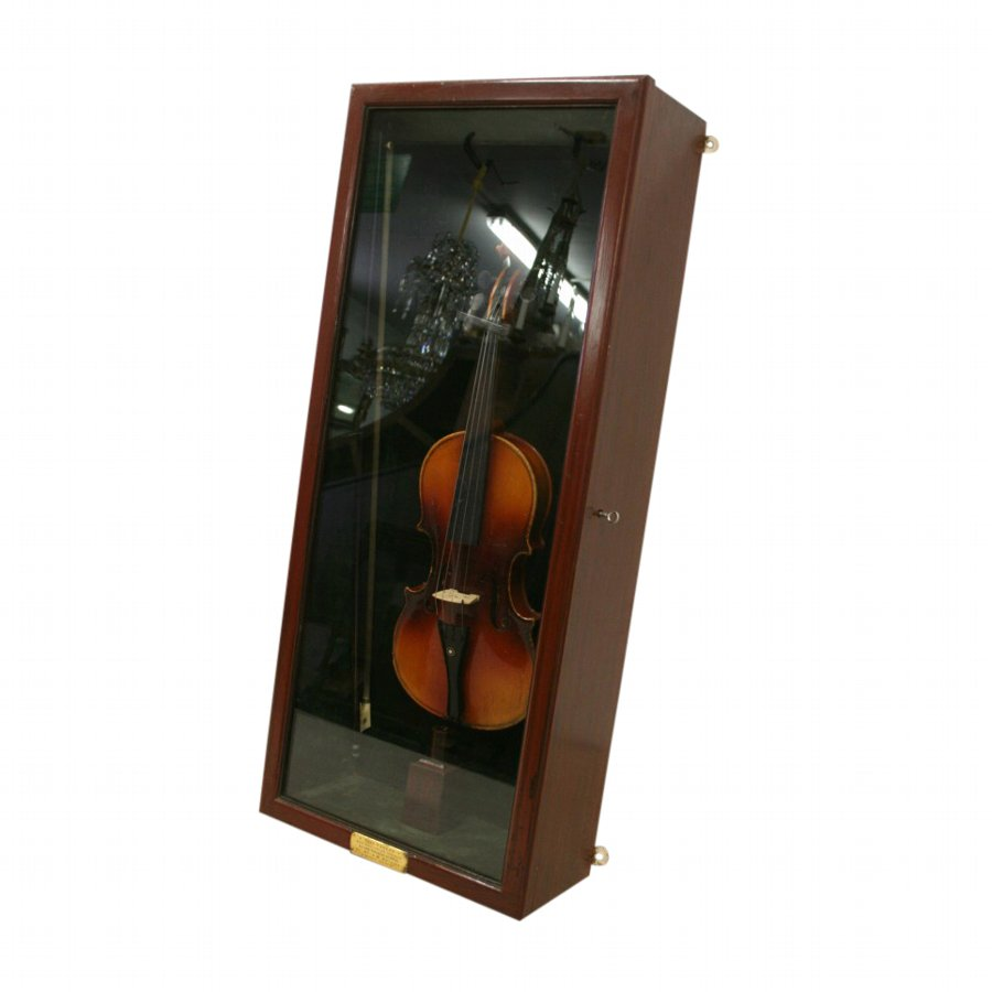 Mahogany Display Case and Violin