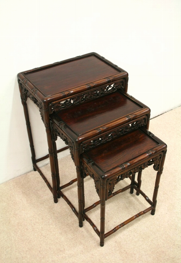 Nest of 3 Carved Occasional Tables