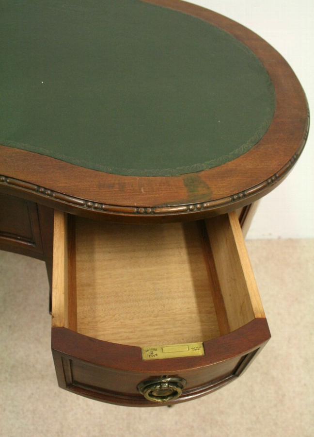 Antique Late Victorian Kidney Shaped Writing Table