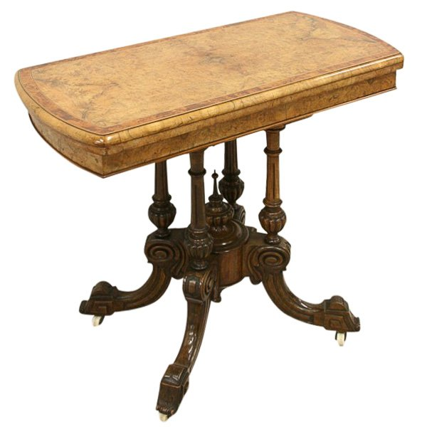 Mid Victorian Burr Walnut Card Table