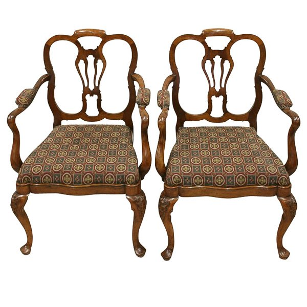Pair of George I Style Walnut Elbow Chairs