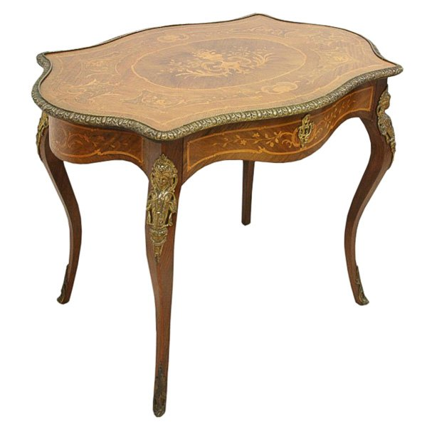 French Style Marquetry Inlaid Window Table