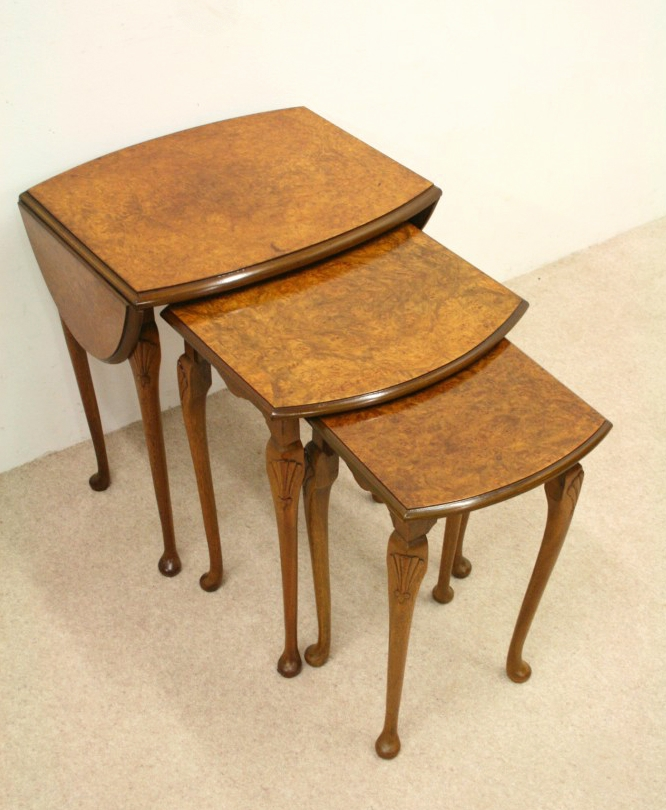 Nest of 3 Burr Elm Occasional Tables