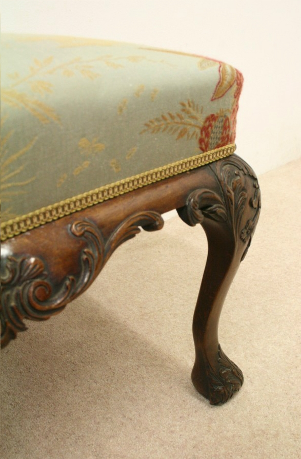 Antique George III Style Carved Mahogany Stool